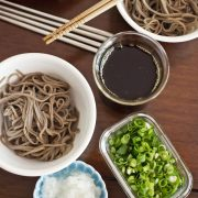 Accompany dish - cold soba noodle with grated horseradish, spring onion and bonito soy stock