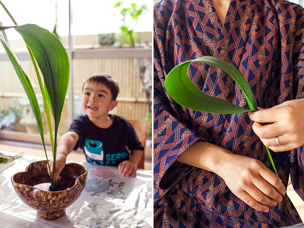 Having watched Mum does flower arrangement since he was a very little boy, Kai seems to have the natural talent in Ikebana too