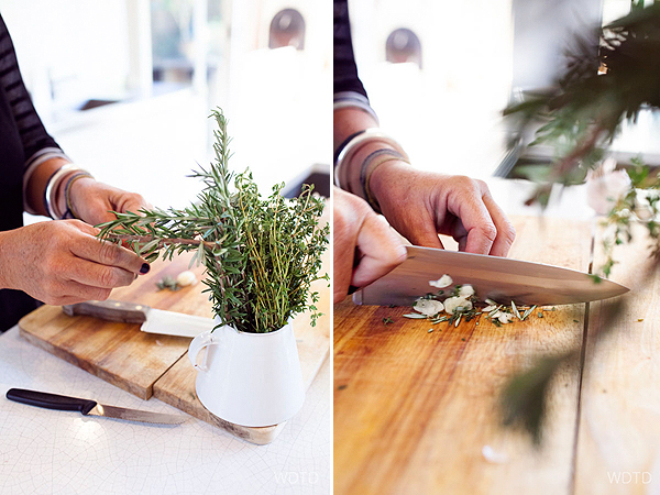 Chop the garlic and rosemary together so both the flavours mingle with each other before marinating the veal with it
