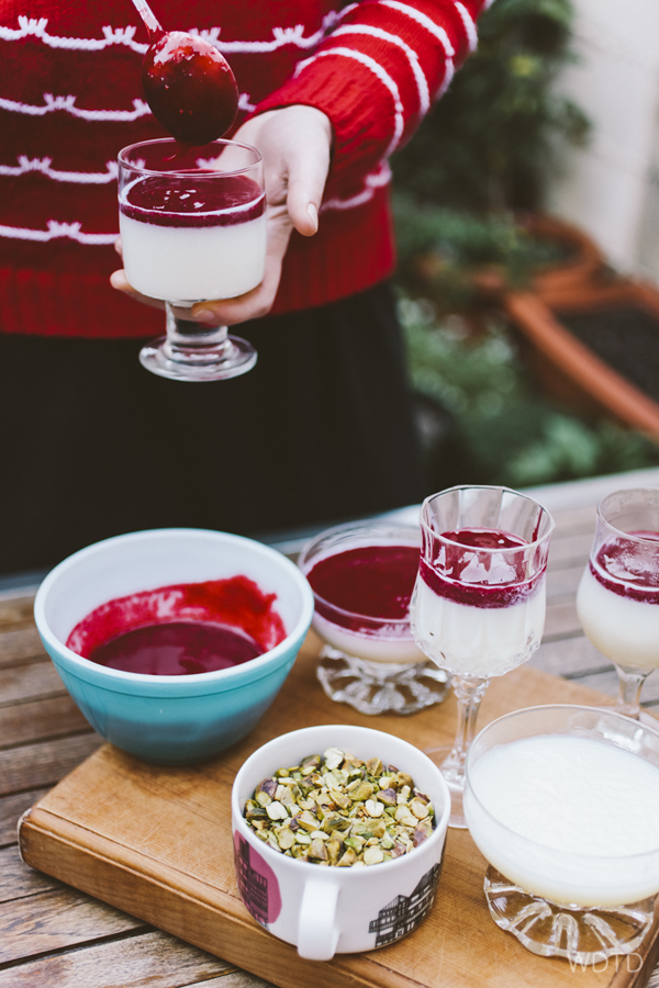 Prepare the Malabi mixture about 5 hours prior to adding the toppings of raspberry coulis and chopped pistachio nuts