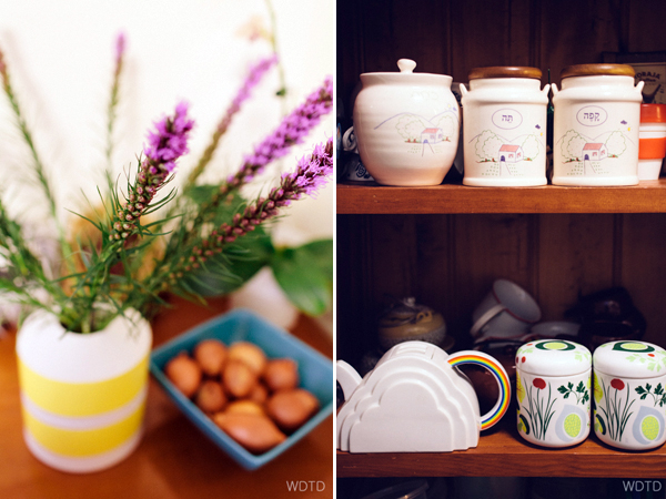 Very cute Israeli kitchen jars Hadas inherited from her Grandmother. From left to right it says: Olives, Tea and Coffee