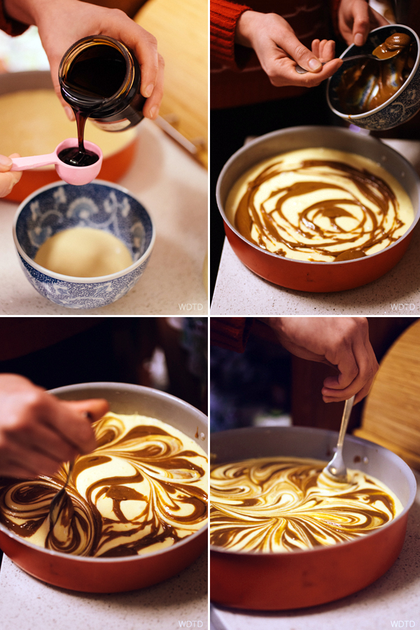 Drizzle the tahini and date syrup mixture over the cake mixture and then swirl through using a teaspoon. Warning - this swirling action is very addictive, so be careful not to overdone it