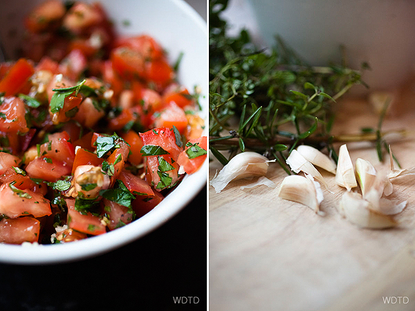 One of the pizza topping - bruschetta style freshly chopped (and drained) tomatoes with mix herbs and fresh garlic