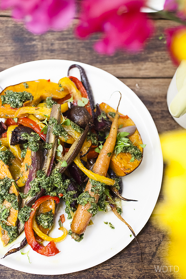 A view dash of pesto dressing brightens up a simple roasted vegetables dish